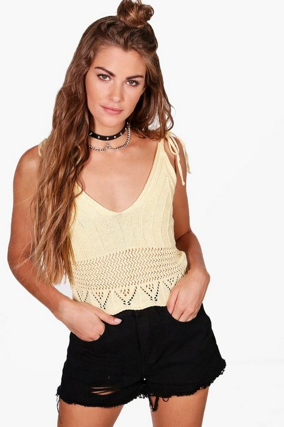 Maria Lace Up Knitted Top
