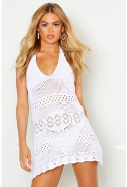 Womens White Halterneck Crochet Beach Dress