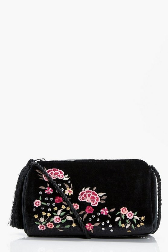 Laura Embroidery & Stud Cross Body Bag