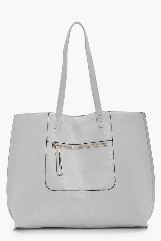 Zip Pocket Structured Shopper Bag