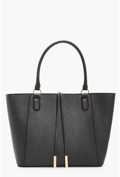 Womens Black Structured Cross Hatch Tote Bag
