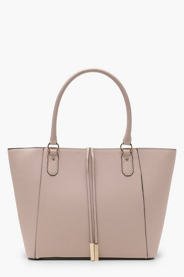 Womens Blush Structured Cross Hatch Tote Bag