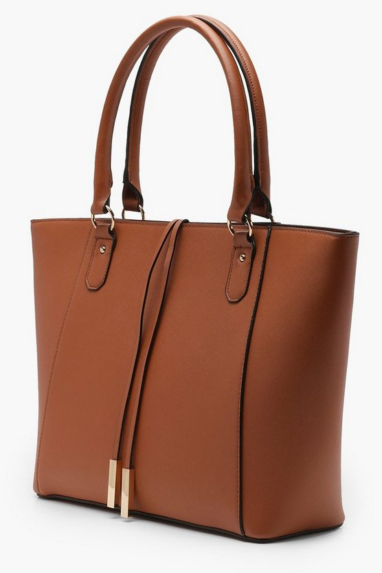 Structured Cross Hatch Tote Bag
