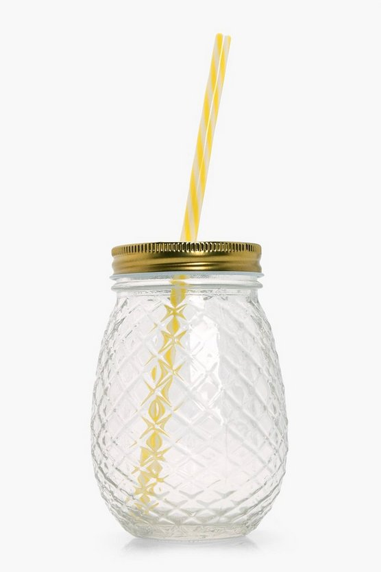 Pineapple Glass Drinking Jar