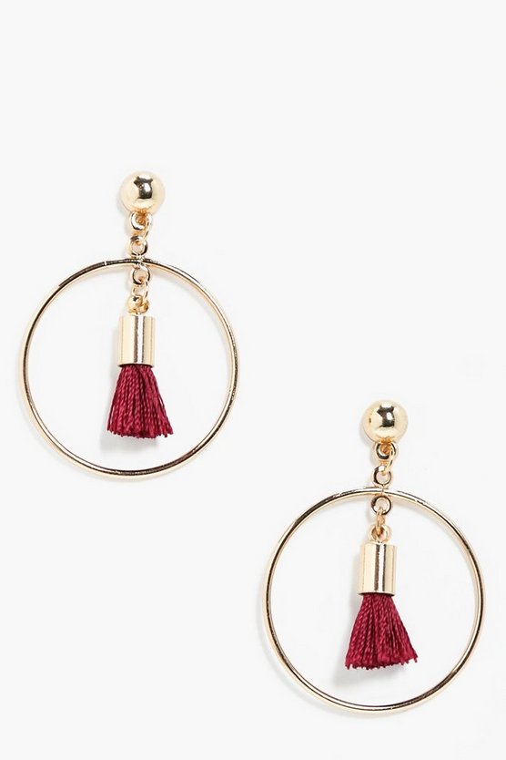 Womens Burgundy Simple Hoop Tassel Earrings