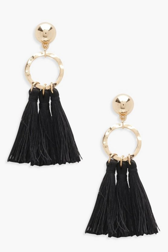 Womens Black Circle Tassel Earrings