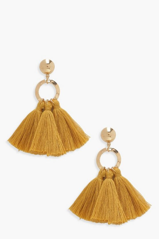 Womens Mustard Circle Tassel Earrings
