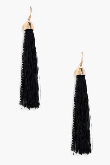 Womens Black Tassel Earrings