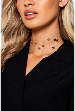 Womens Gold Floating Stars Choker