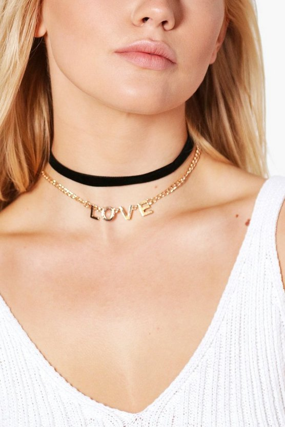 Elle Love Chain & Velvet Choker 2 pack