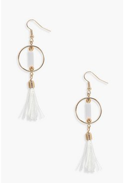 White Simply Hoop Tassel Earrings
