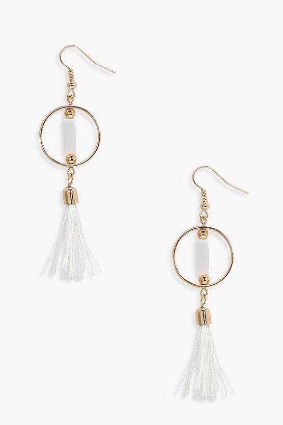 Simply Hoop Tassel Earrings