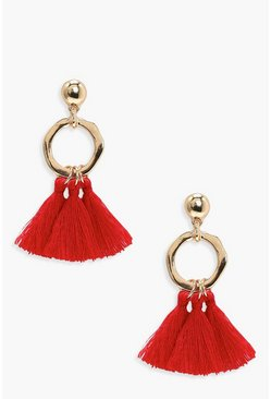 Hammered Hoop Tassel Earrings, Red, Donna