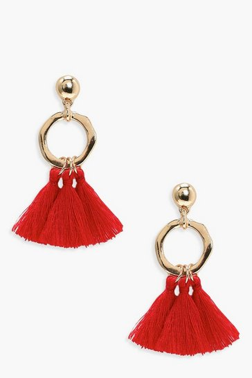 Red Hammered Hoop Tassel Earrings