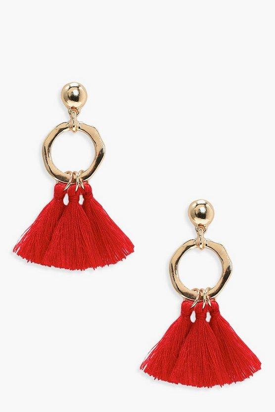 Hammered Hoop Tassel Earrings