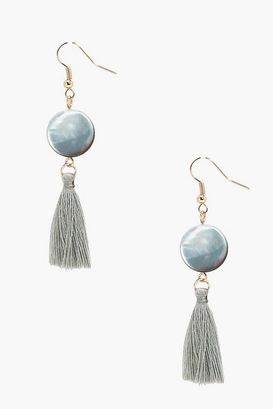 Stone Disc Tassel Earrings