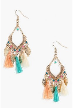 Womens Gold Leaf Charm Tassel Detail Earrings