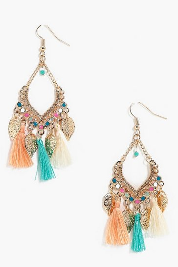 Gold Leaf Charm Tassel Detail Earrings