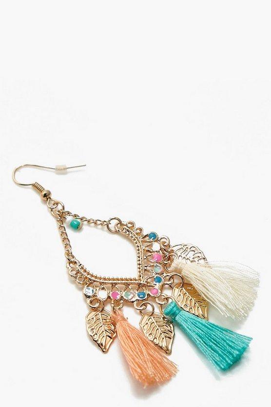 Leaf Charm Tassel Detail Earrings