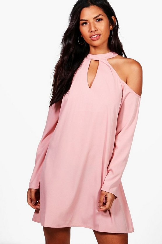 Womens Blush Woven Cold Shoulder Cut Out Shift Dress