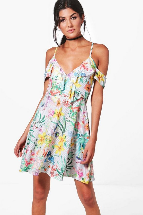 Oriental Cold Shoulder Skater Dress