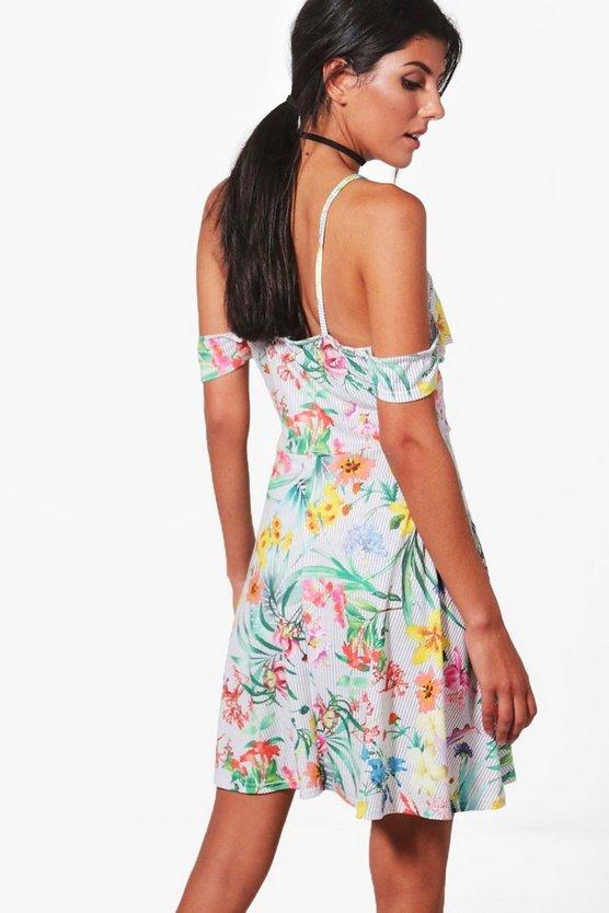 Oriental Cold Shoulder Skater Dress
