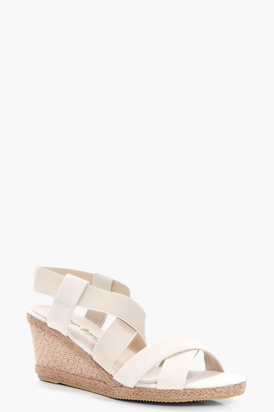 Megan Cross Strap Espadrille Wedge