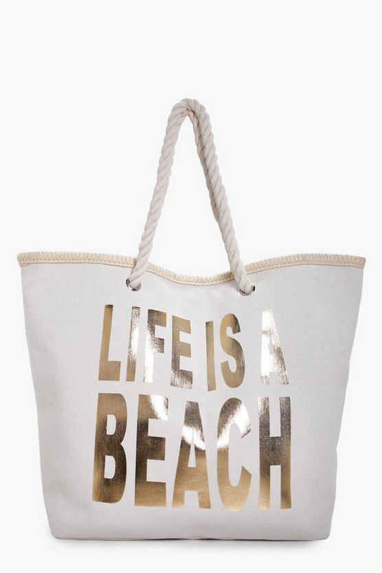 Womens Gold Heather Life Is A Beach Beach Bag