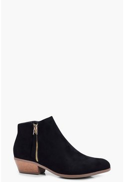Womens Black Zip Trim Chelsea Ankle Boots