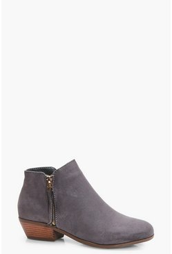 Grey Zip Trim Chelsea Ankle Boots