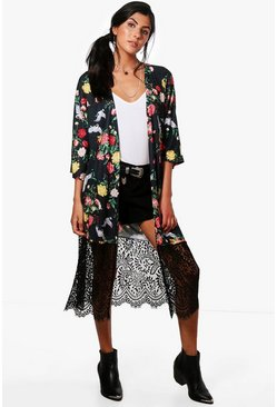 Womens Black Abigail Oriental Print Kimono With Lace Hem