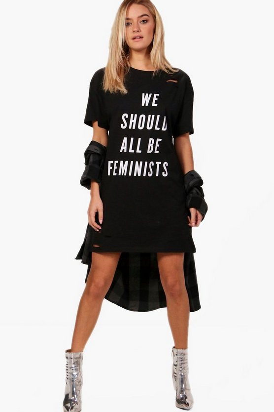 Lois Feminist Distressed T-Shirt Dress