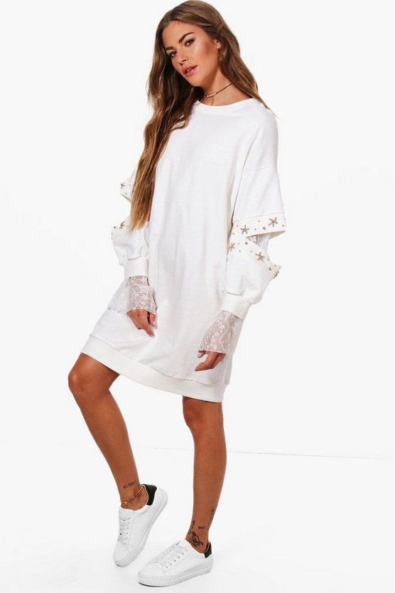 Ally Embellished Lace Insert Sweater Dress
