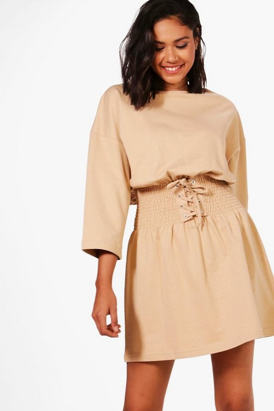 Jasmine Shirred Corset Belt Sweat Dress