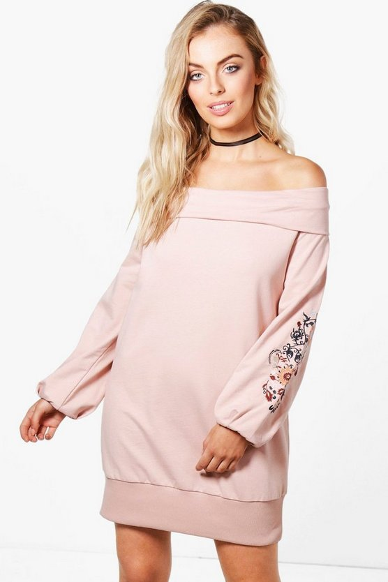 Milly Off The Shoulder Embroidered Sweat Dress
