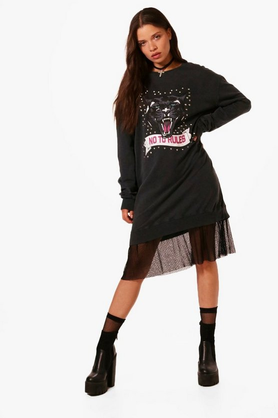 Printed Embellished 2 in 1 Sweat Dress