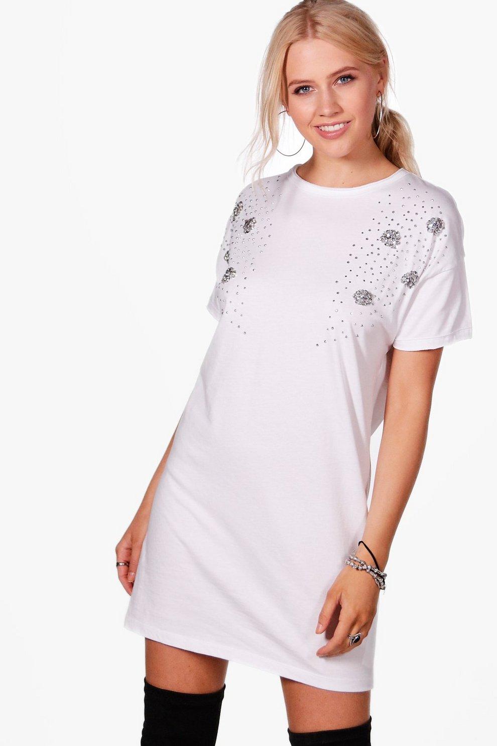 e479996100b7 Womens White Nora Embellished T-shirt Dress