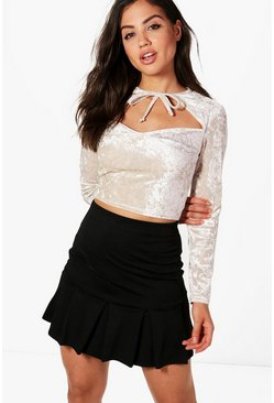 Womens Beige Lottie Velvet Cut Out Crop