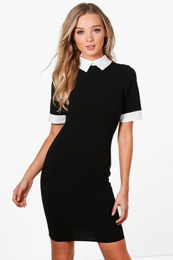 Womens Black Contrast Collar & Cuff Dress
