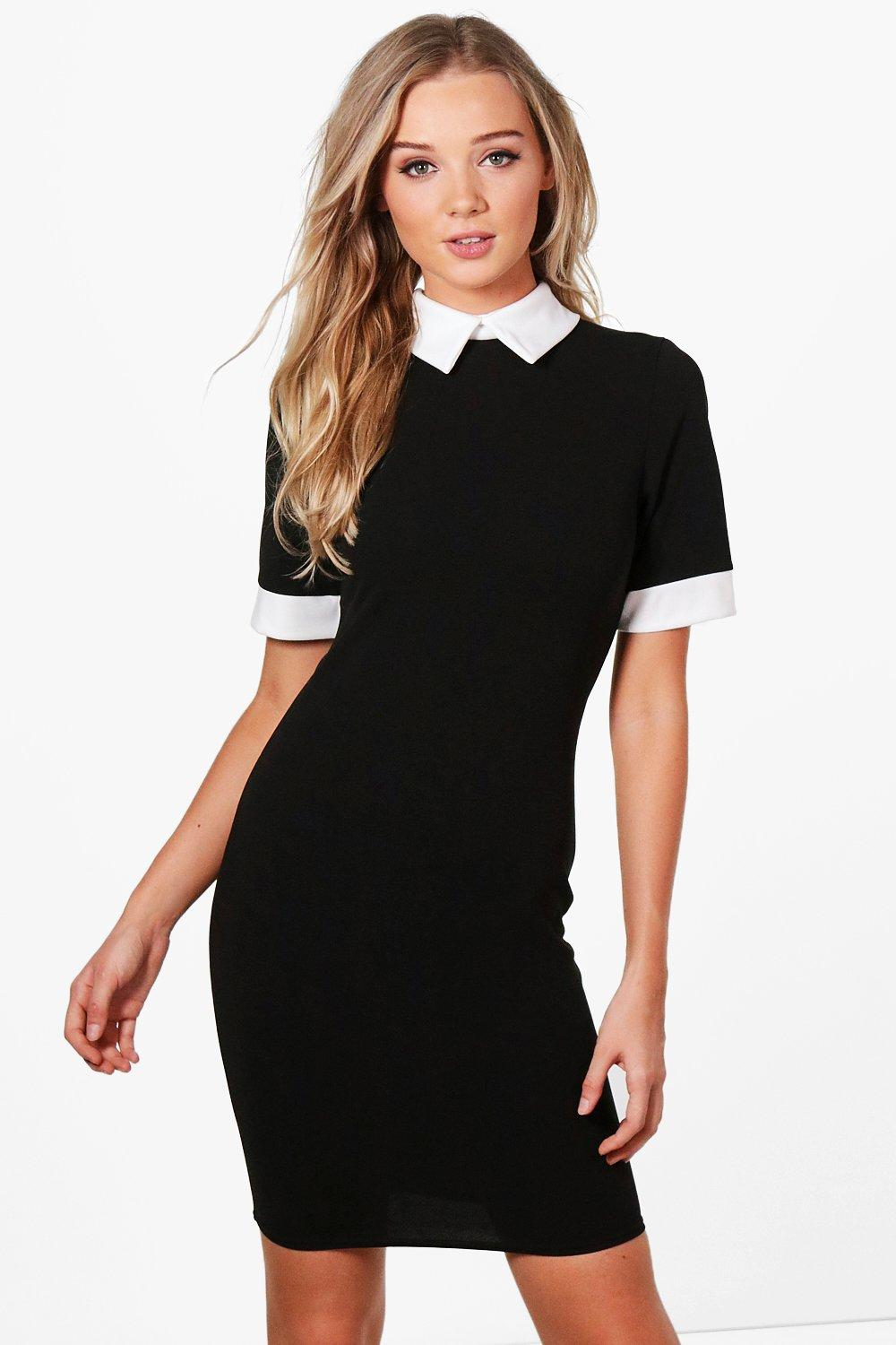9e86a7b43 black dress contrast collar – Little Black Dress | Black Lace ...