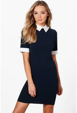 Womens Navy Contrast Collar & Cuff Dress