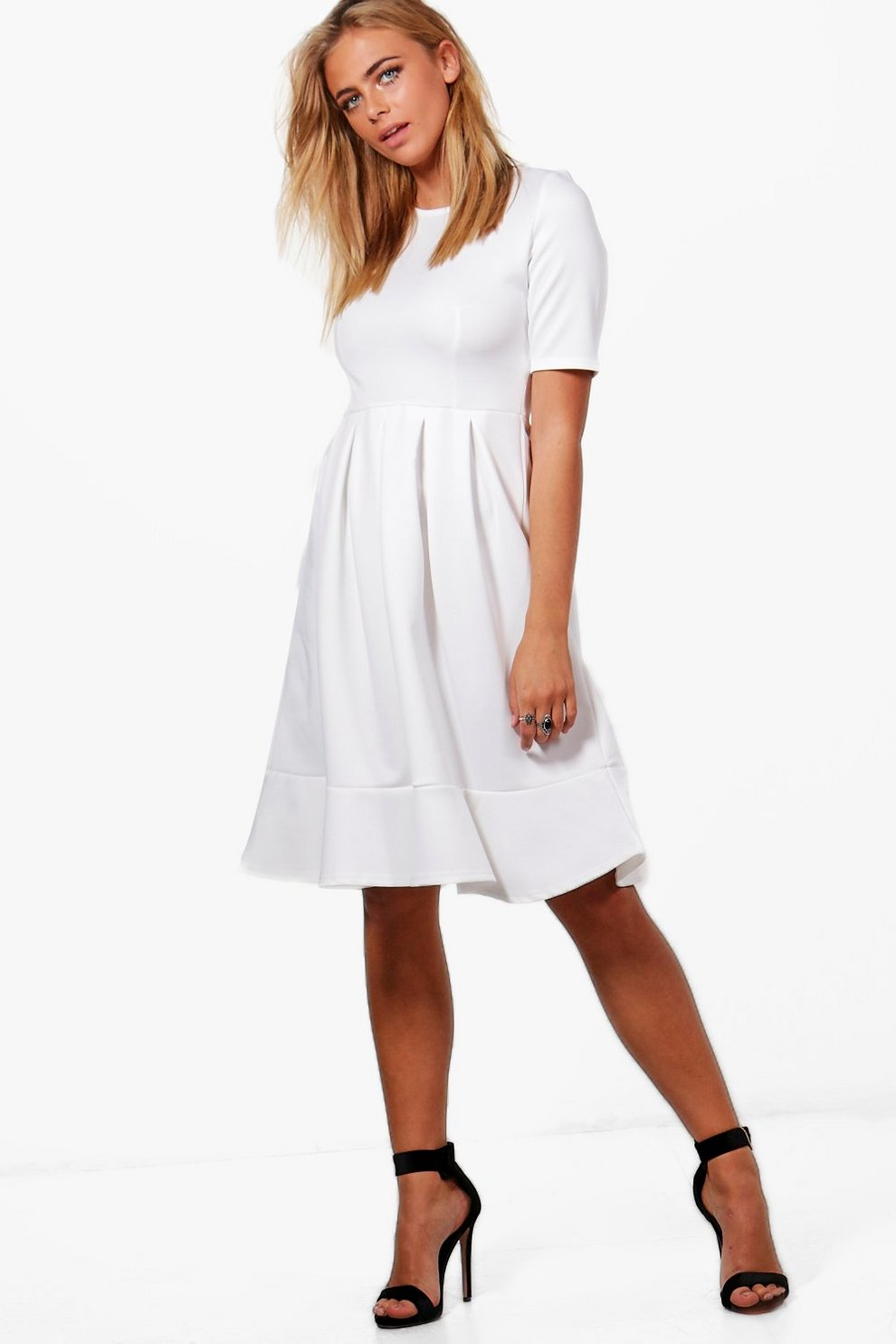 f4d5723991b2d Elizabeth Full Skirt Scuba Swing Dress | Boohoo