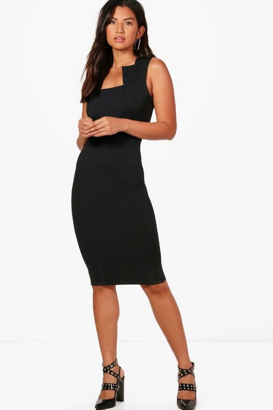 Square Neck Fitted Midi Dress
