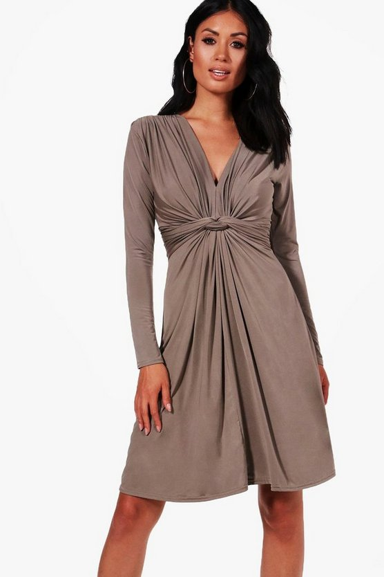 Harriet Long Sleeve Knot Front Dress
