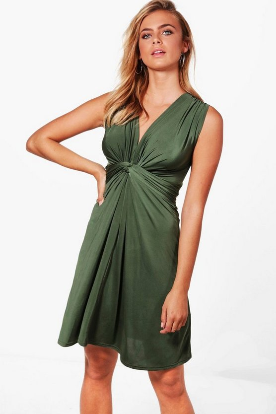 Grace Knot Front Sleeveless Fitted Dress