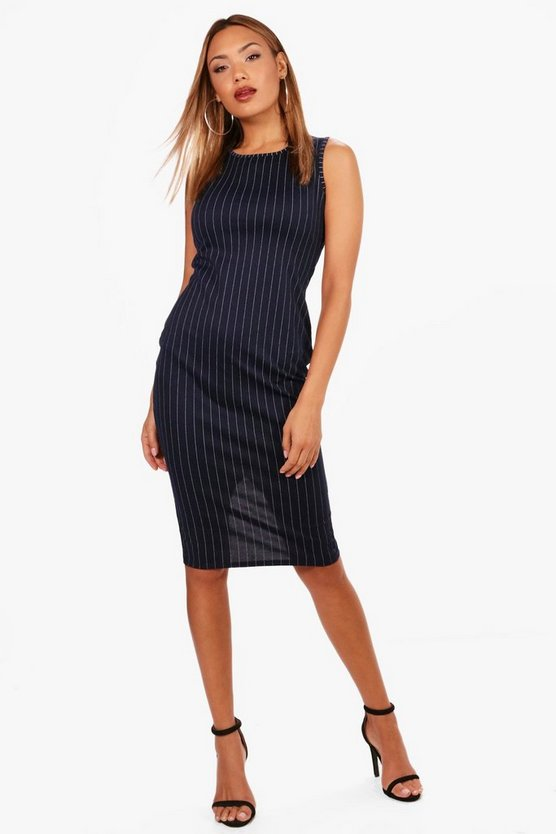 Womens Navy Rebecca Pinstripe Sleeveless Midi Dress