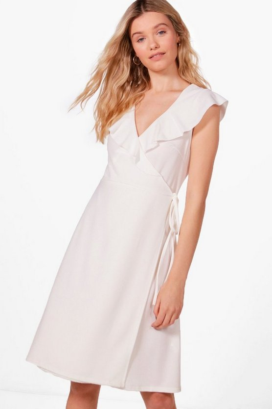 Frill Neck Wrap Midi Dress