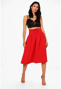 Womens Red Isabella Corset Waist Full Midi Skirt