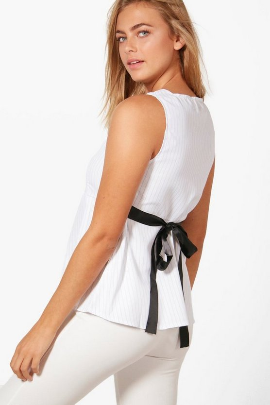 Eliza Sleeveless Pinstripe Tie Detail Shirt