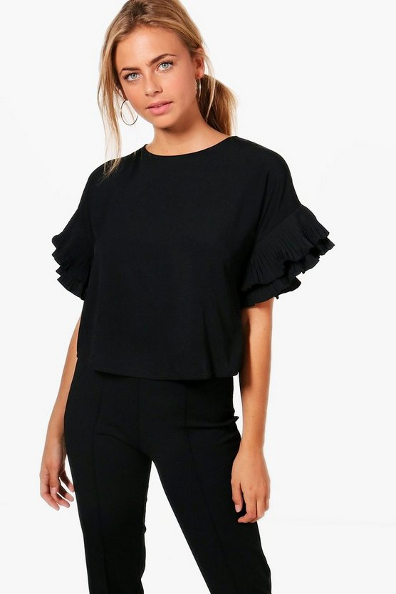 Lacey Pleated Frill Sleeve Top